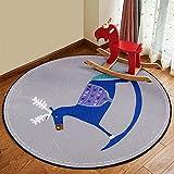 HOMEE Round carpet cartoon children blanket living room bedroom bedside coffee table basket carpet,120 Cm,5