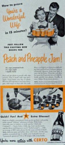 Original Fruit Pectin - Certo Fruit Pectin, 40's Color print ad. Illustration, painting (wonderful wife) Original Vintage 1949 Woman's Day Magazine Art