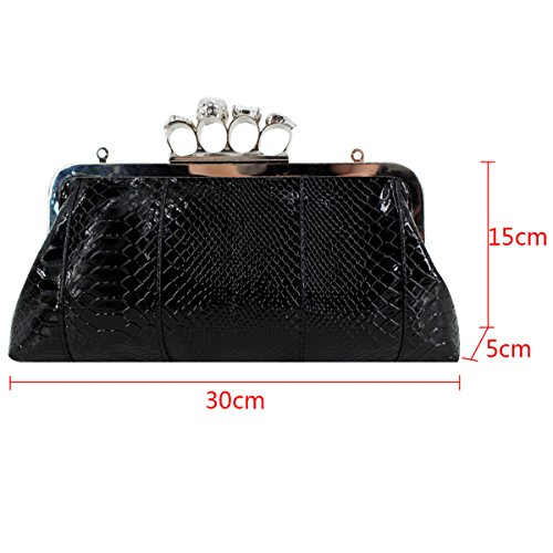 Millya Style Handbag with Clutch Punk Chain Knuckle Ring Bag Skull PU Women Bag Leather Party Black Evening Shoulder 1q1rwa7