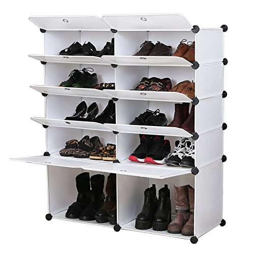 UNICOO - Multi Use DIY Plastic 10 Cube Shoe Rack,Organizer, Bookcase, Shoes Cabinet (25 with Boots Cube, White Wood Grain) ()