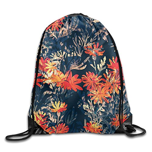 Yishuo Imprints Meadow Grass Hand Painted Seamless Pattern Digital Drawing And Watercolor Texture Drawstring Pack Beam Mouth Gym Sack Shoulder Bags For Men & Women