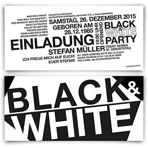 Einladungen 30 Stück Zum Geburtstag Schwarz Weiß Black White Party Einladungskarten