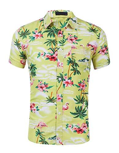 (CATERTO Men's Flamingos Flowers Printed Aloha Shirts Short Sleeve Button Down Hawaiian Shirt Yellow Green M)