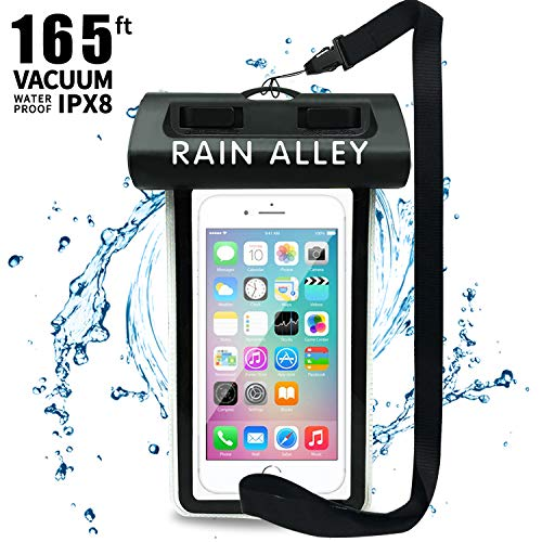 [Vacuum Design] RAIN ALLEY Universal Waterproof Case, Swimming Snorkeling, IPX8 Waterproof Phone Pouch Dry Bag for iPhone X/XS/XR/XS MAX/8/7/6/6s Plus Samsung Galaxy S9/S8 Huawei up to 6.0