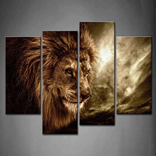 4 Panel Wall Art Brown Fierce Lion Against Stormy Sky Painting The Picture Print On Canvas Animal Pictures for Home Decor Decoration Gift Piece (Stretched by Wooden Frame,Ready to Hang) (Paintings Animals)