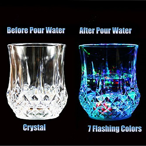 Shot Glasses [10 PCS],DiDaDi Automatic Water Activated Colorful Flashing LED Light Up Flash Blinking Beer Wine Whisky Vodka Martini Drinkware Glow Glasses Mugs for Bar Club Christmas Party Supplies