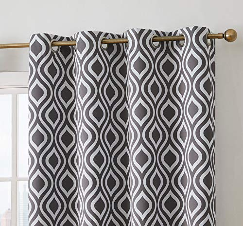 (HLC.ME Ogee Trellis Print Blackout Grommet Curtain Panels for Bedroom - 99% Light Blocking - Thermal Insulated Decorative Pair for Privacy & Room Darkening - Set of 2 (52