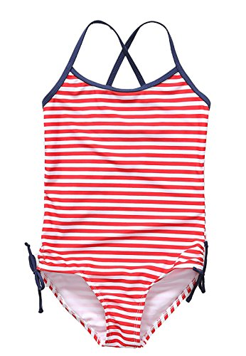 [ALove Big Girl's Stripes One Piece Swimsuit Swimwear Red 9-10] (Swimming Costume For Womens Online)