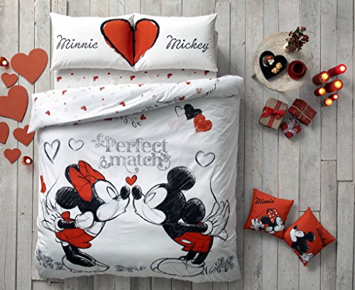 Day Valentines Gift Gift (Exclusive Valentine's Day Gift Original Licensed Double Queen DISNEY MICKEY PERFECT MATCH 100% Cotton Ranforce Duvet Cover Bedding Set 4-Piece)