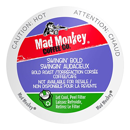 Mad Monkey Single Serve Coffee Capsules, Swingin Bold, 100% Arabica Bold Roast, Compatible with Keurig K-Cup Brewers, 48 Count