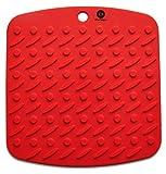 Chefworx Silicone Pot Holder, Trivet Mat,Jar Opener,Spoon Rest and Garlic Peeler (Set of 2) Non Slip, Flexible, Durable, Dishwasher Safe, Heat Resistant Hot Pads (Red)