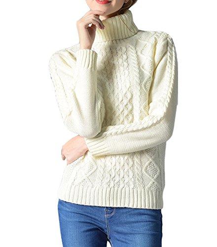 Suéter Jersey de Manga Larga Alta Cuello Pullover Para Mujer Blanco