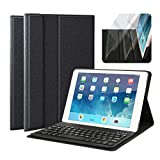 iPad Keyboard Case - Multi-Angle Viewing Fabric Folio Stand Cover Case with Removable Wireless Bluetooth Keyboard for Apple iPad Air 1 iPad Air 2 iPad Pro 9.7 Inch & iPad 9.7