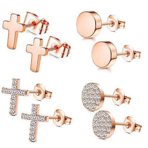 FIBO STEEL 4 Pairs CZ Stud Earrings for Women Girls Dainty Cross tragus Cartilage Daith Earrings Rose Gold (Earring Cross Cartilage)