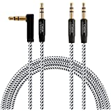 3ft Aux Cable,CableCreation [2-PACK 1 Angle+1 Straight] 3.5mm Male to Male Auxiliary Audio Stereo Cord Compatible Car,Headphones, iPhones, iPads,Tablets,Laptops,Android Phones& More, 1M /Black & White