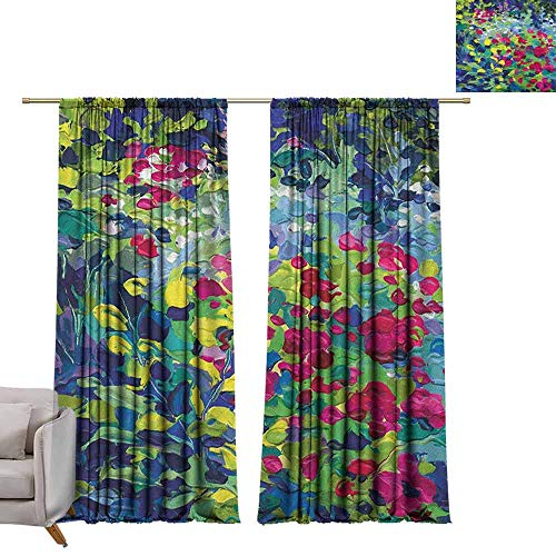 Shades Window Treatment Valances Curtains Art,Floral Field Vivid Toned Pastel Flourishing Fragrance Botany Summer Petals Picture, Multicolor W96 x L108 Thermal Insulated Blackout Curtains (Valance Fields Floral)