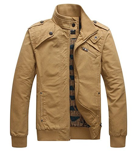 Benibos Men's Stand Collar Casual Jacket Zipper Coat (US:S / Asia L, Khaki)