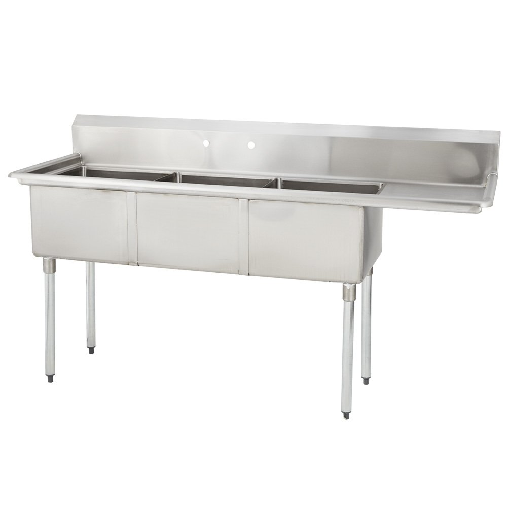 Fenix Sol 16G-3C18X24-R18 Three Compartment Stainless Steel Sink, Bowl: 18''L x 24''W x 14''D, Overall Size: 74.5''L x 29.8''W x 43''H, 1 x 18'' Right Drainboard, Galv Legs