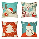 Decorative Pillow Cover - 4 Packs Happy Halloween Square Pillowcases - 18 X 18 Inch Christmas Decorative Throw Pillow Cover ,1x Reindeer + 1x Santa Claus + 1x Christmas Trees + 1x Deers by Hippih