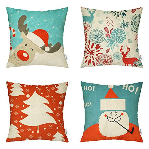 Halloween Throw Pillow (4 Packs Happy Halloween Square Pillowcases - 18 X 18 Inch Christmas Decorative Throw Pillow Cover ,1x Reindeer + 1x Santa Claus + 1x Christmas Trees + 1x Deers by Hippih)