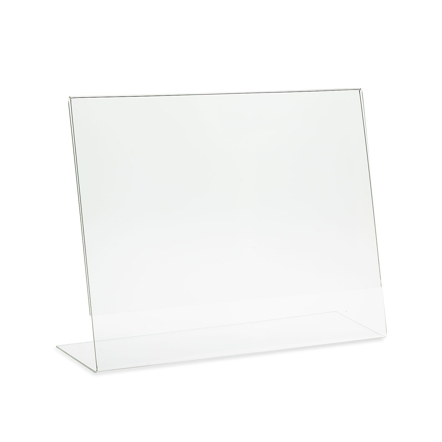 SourceOne Slanted Sign Holder - 11'' x 8 1/2'' Landscape - Clear Acrylic Ad Frame