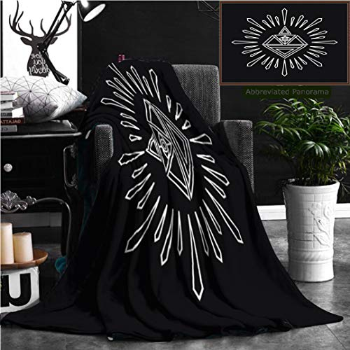 - Nalagoo Unique Custom Flannel Blankets Linear Abstract Hipster Logo Template Magical Diamond Badge Super Soft Blanketry for Bed Couch, Twin Size 80