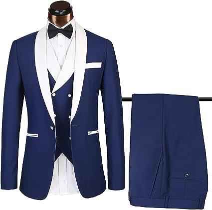 XHXMM Trajes para Hombre 3 Piezas Slim Fit Business Jacket ...