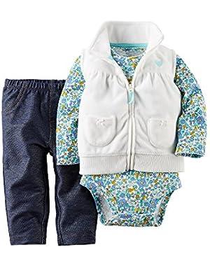 Baby Girls' 3Pc Fleece Vest Denim Set (12M, White)