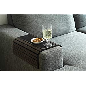 Kos Design Bamboo Sofa Tray Table with Anti-Slip for all Armrests. Dark Natural Colour Fits Any Interiors.