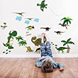 Walplus Wall Stickers Large Dinosaur Removable Self-Adhesive Mural Art Decals Vinyl Home Decoration DIY Living Bedroom Décor Wallpaper Kids Room Gift, Multi-colour