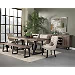 """Alpine Furniture Prairie Dining Table, 84"""" W x 42"""" D x 30"""" H, Reclaimed Natural and Black Finish"""