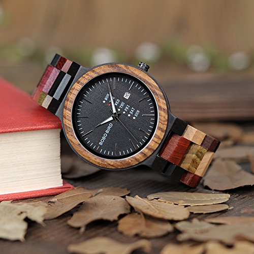 quartz handmade bamboo watch band product women men wooden retro redear couples watches leather with