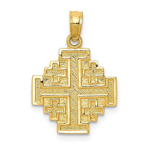 14K Yellow Gold Jerusalem Cross Pendant - (0.87 in x 0.59 in) ()