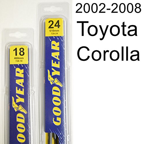 """Toyota Corolla (2002-2008) Wiper Blade Kit - Set Includes 24"""" (Driver Side), 18"""" (Passenger Side) (2 Blades Total)"""