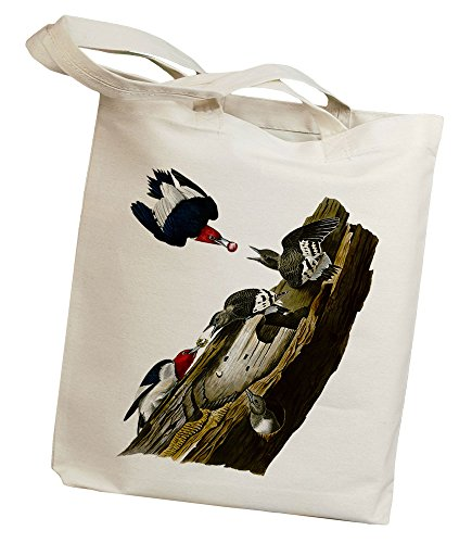 Idiopix Red Headed Woodpecker Canvas Cotton Tote Bag - Bird Lover Ornithologist Gift