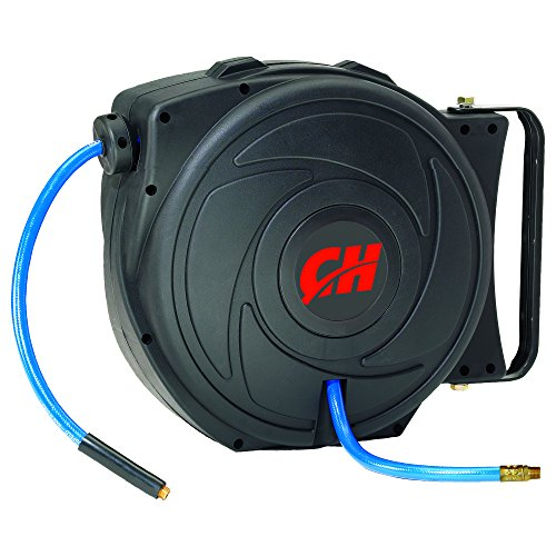 Air Hose Reel with Retractable 50 Foot Hose, 3/8 Inch ID, Mountable, Swivel Bracket, Lightweight, 300 PSI (Campbell Hausfeld PA500400AV)
