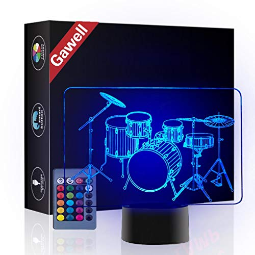 Christmas Gift Drum 3D Illusion Lamp Night Light, Gawell 7 Color Changing Touch Switch Table Desk Decoration Birthday Present with Acrylic Flat & ABS Base & USB Cable Toy for Music Fans Lover