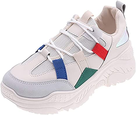 Zapatillas de deporte para mujer, gruesas, redondas, con cordones en la parte superior, con cuñas neutras, para correr al aire libre, color Beige, talla 38 EU: Amazon.es: Zapatos y complementos