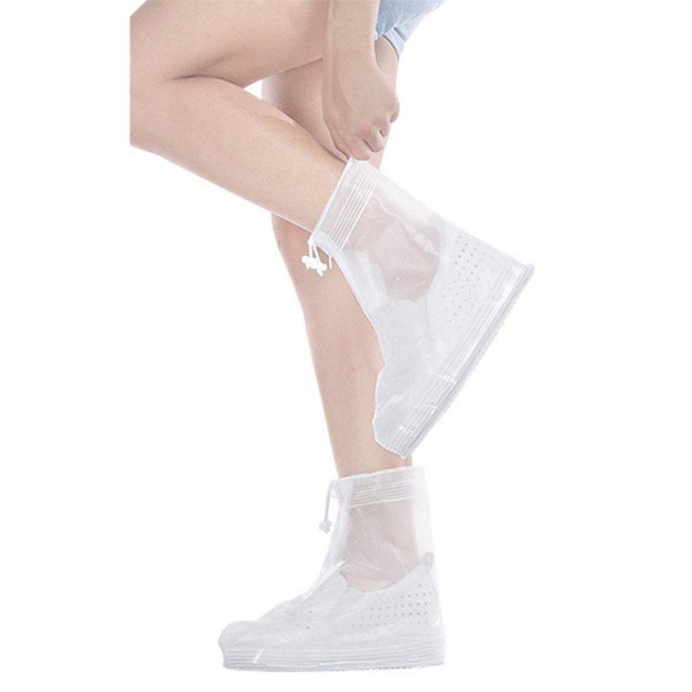 Reusable Waterproof Overshoes Shoe Covers Shoes Protector Men Women Rain Cover White 28.5cm 12cm 20cm