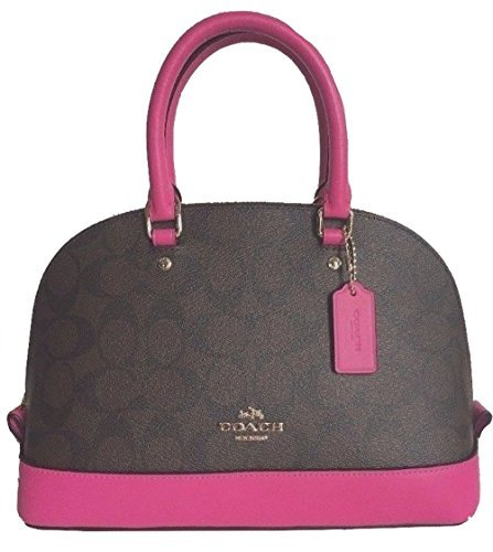 Pink Coach Purse - Coach F58295 Mini Sierra Satchel Brown/Black Signature Crossbody Handbag (Fuchsia)