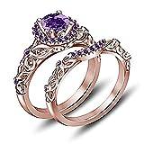 tusakha 14K Rose Gold Plated Wedding Band Round Purple Amethyst Disney Princess Engagement Bridal Ring Set (4)