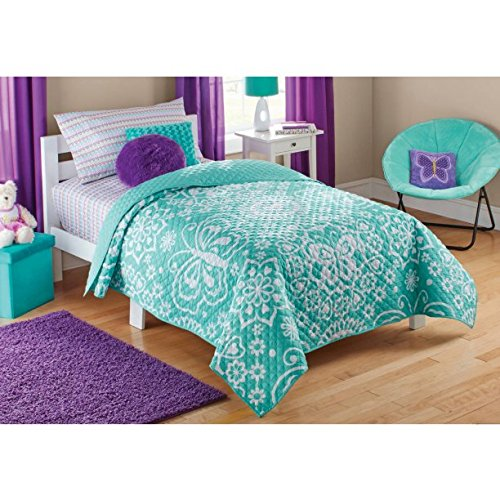 Mainstays Kids Teal Butterfly Quilt For Girls Twin/Full quilt: 72
