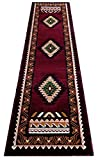South West Native American Area Rug Design #C644 Burgundy (2 Feet X 7 Feet Runner)