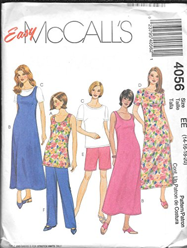 - McCall's Easy Sewing Pattern 4056 Size EE (14-16-18-20) Misses'/Miss Petite Tunic, Dress Or Jumper, Top, Shorts and Pants