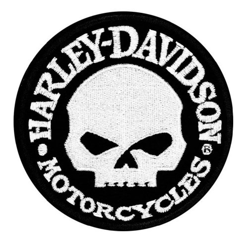 (Harley-Davidson Hubcap Skull Small Patch, 4'' W x 4'' H)