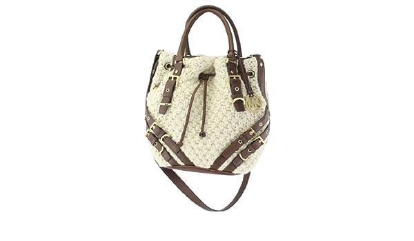 d5de1513e02e Michael Kors Cream Wool Knit MILO Large Drawstring Tote Bag Shoulder ...