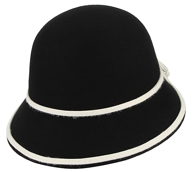 eb4cc1295ea GEMVIE Women 100% Wool Cloche Bucket Hat Retro Felt Color Matching Bowler  Hat Adjustable with