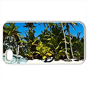 Beautiful Beach South Pacific - Case Cover for iPhone 4 and 4s (Beaches Series, Watercolor style, White)