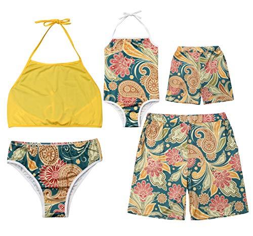Family Matching Boho Flower Print Bathing Suit Mommy&Girl Halter Neck Sleeveless Swimsuit Daddy&Me Swim Shorts ()