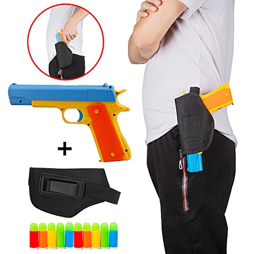 Pinovk Colt 1911 Toy Gun with 10 Colorful Soft Bullets,Pull Back Action Blue